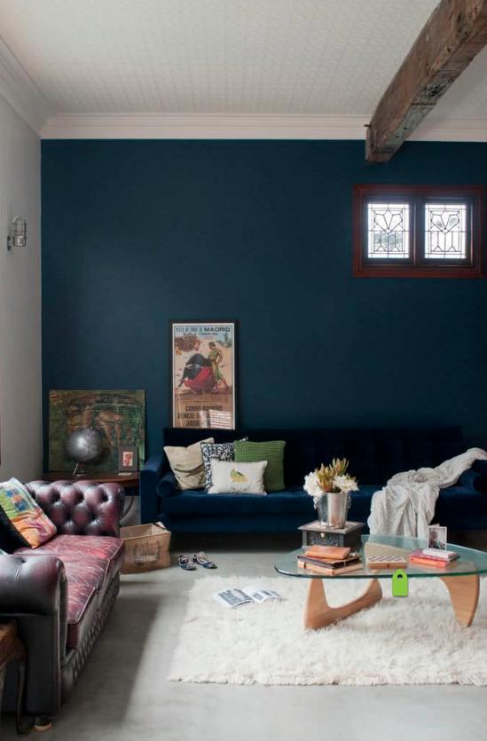 Dark Accent Wall In Offices Blue Living Room Dark Blue Walls