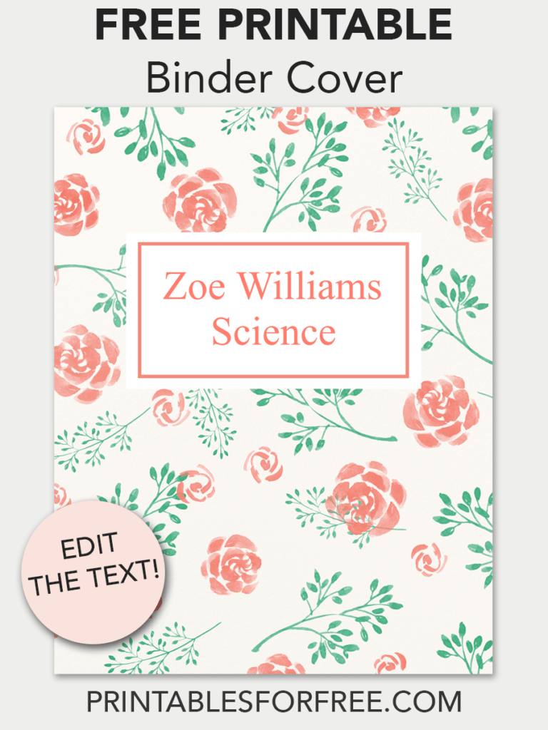 floral printable binder cover free printables binder covers