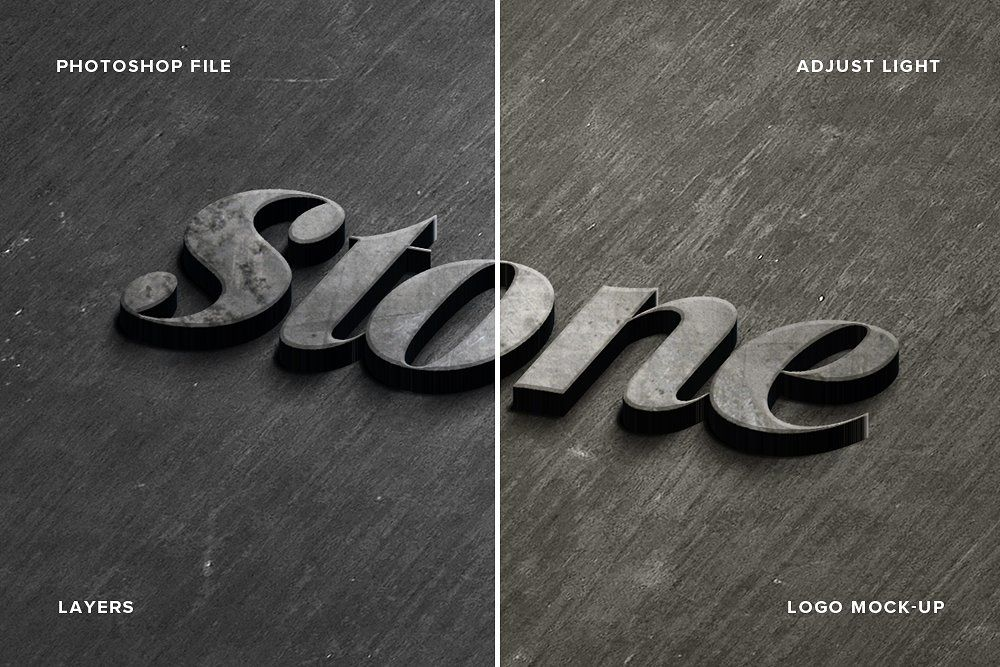 Stone Logo Mock Up Realistic Psd Mockup Template Free Psd Mockups Templates Mockup Psd