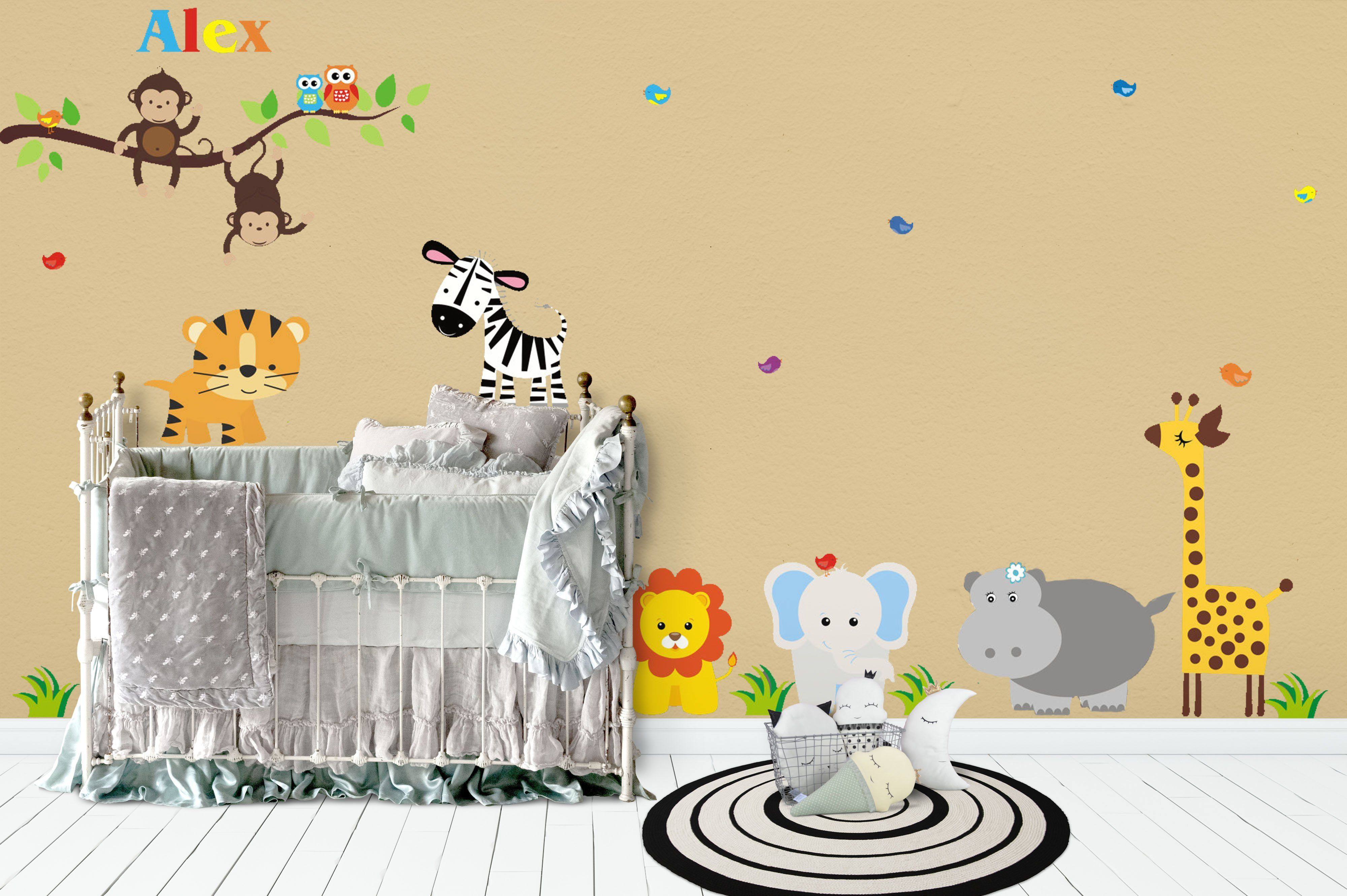 Animal Wall Decals - Safari Animals Decals - Monogrammed Decals ...