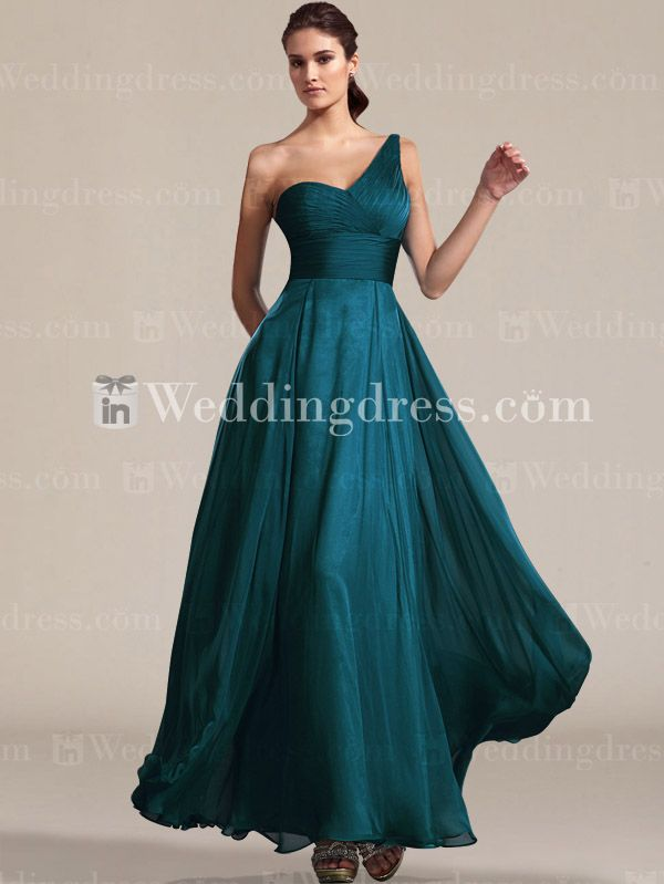 Chiffon One-Shoulder Bridesmaid Dress with Slit Skirt BR012 ...