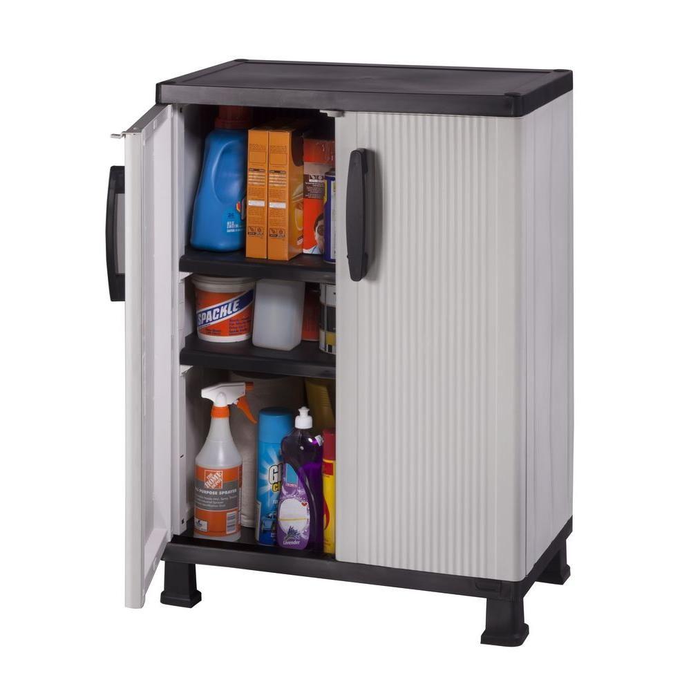 D Plastic 2 Shelf Multi Purpose Base Wall Cabinet In Gray