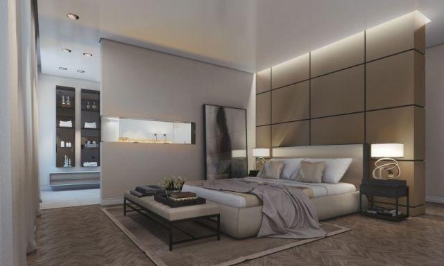 En-Suite Schlafzimmer mit Bad und Kamin-eingebaut in der Trennwand ...