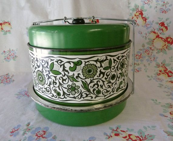 1960s Grass Green Flowered Three Level Cake and by KitschyVintage, $33.00