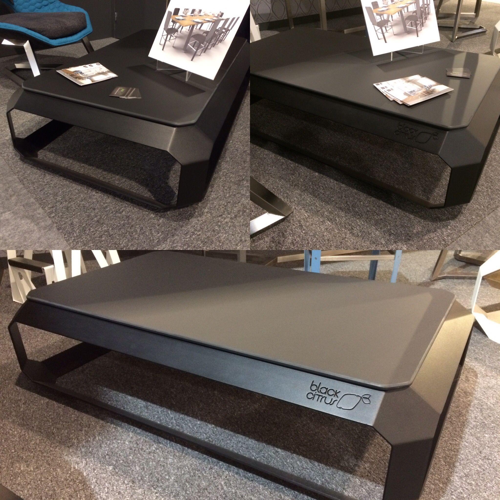 Table Basse Ultra Contemporaine En Acier Thermo Laque Noir Texture Et Plateau En Fenix Noir Mat De 10mm Design M With Images Board Design Industrial Design Table Design