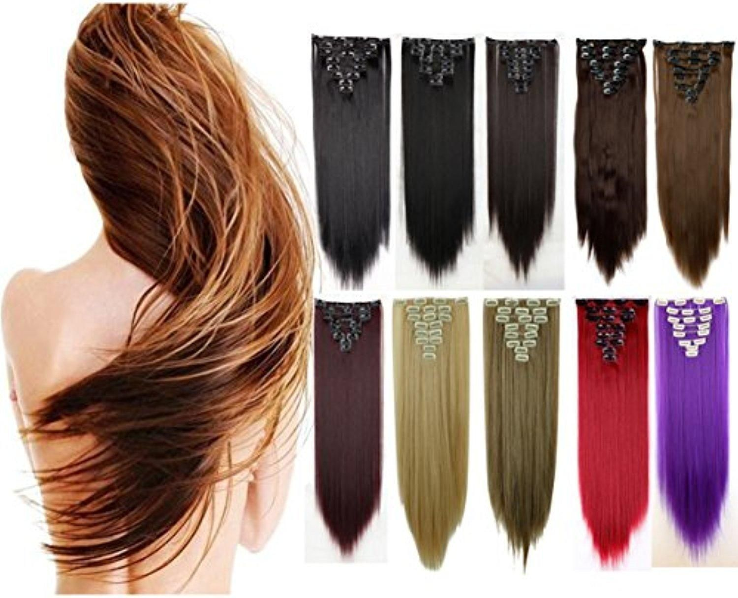 8pcs 26 Long Straight Real Thick Full Head 17 Color 18 Clips Clip