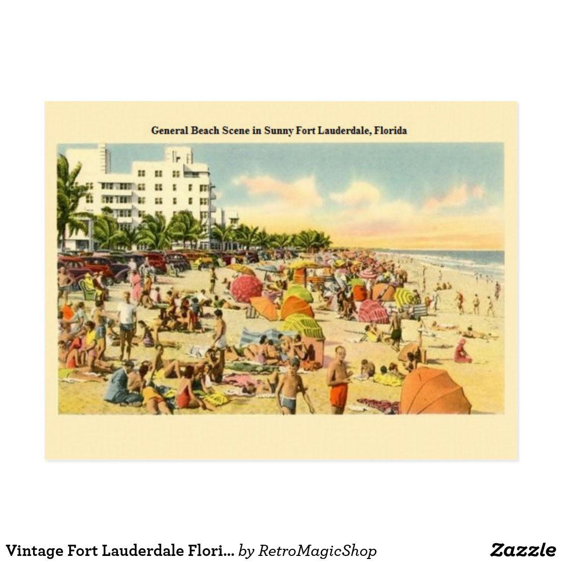 Vintage Fort Lauderdale Florida Beach Post Card Zazzle Com Vintage Postcards Travel Vintage Florida Vintage Postcard
