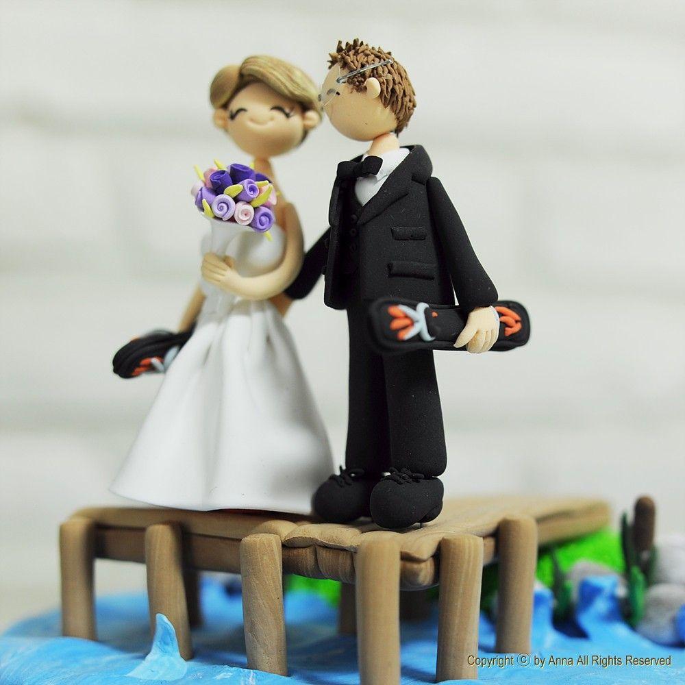 Lake Water Ski Wedding Cake Topper Decoration By Annacrafts