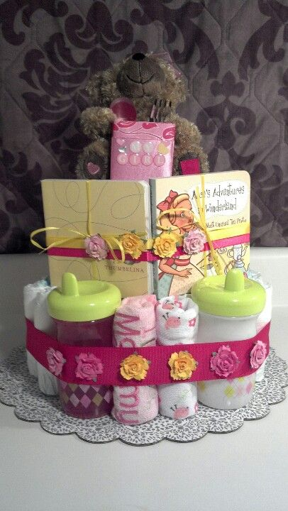 1 Year Old Girl Diaper Cake Birthday Party 1st Gifts