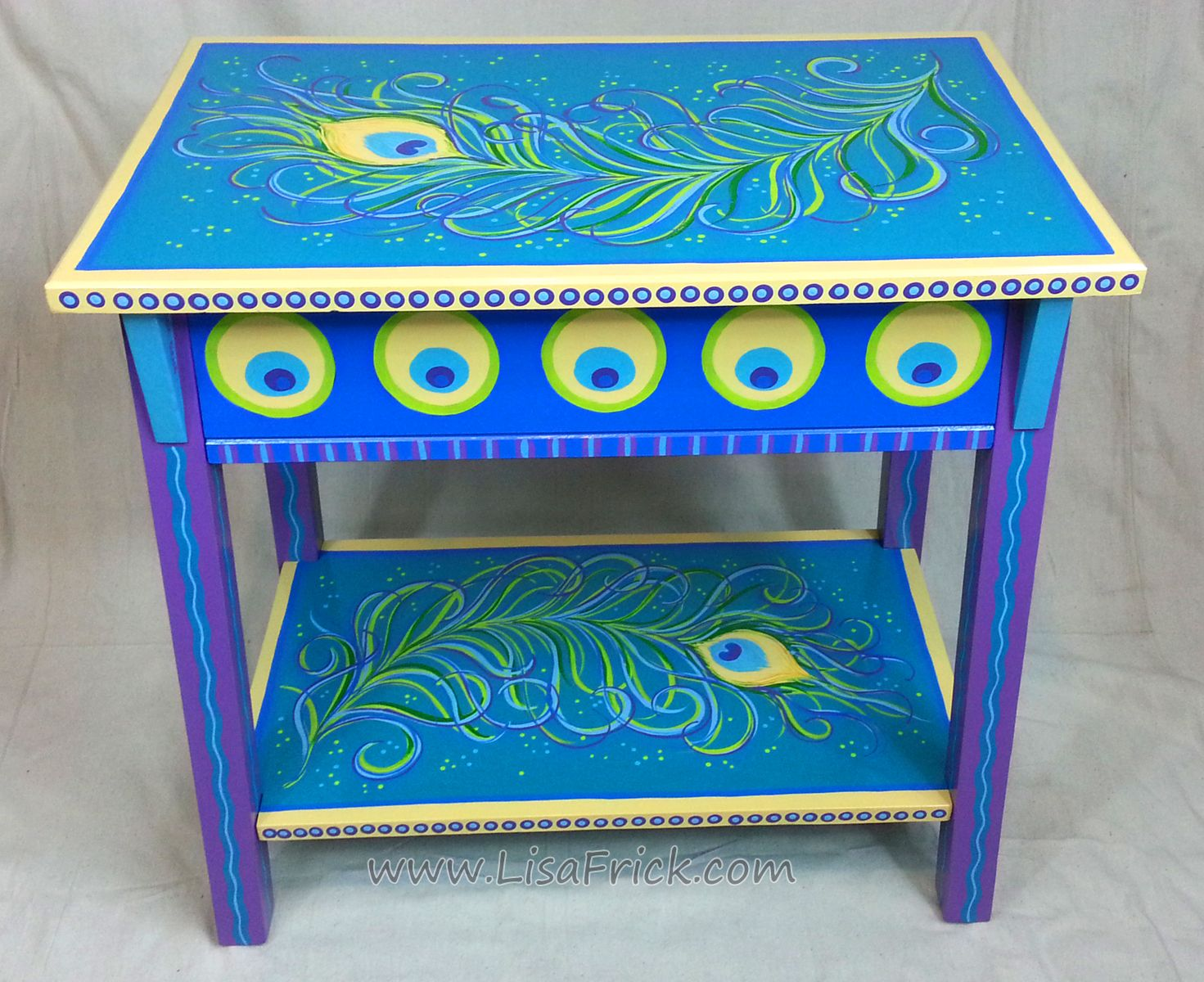 By Lisa Frick This Peacock Feather Side Table Was A Custom Order But I Would Like Do Whimsical Painted Furniture Hand Painted Furniture Whimsical Furniture