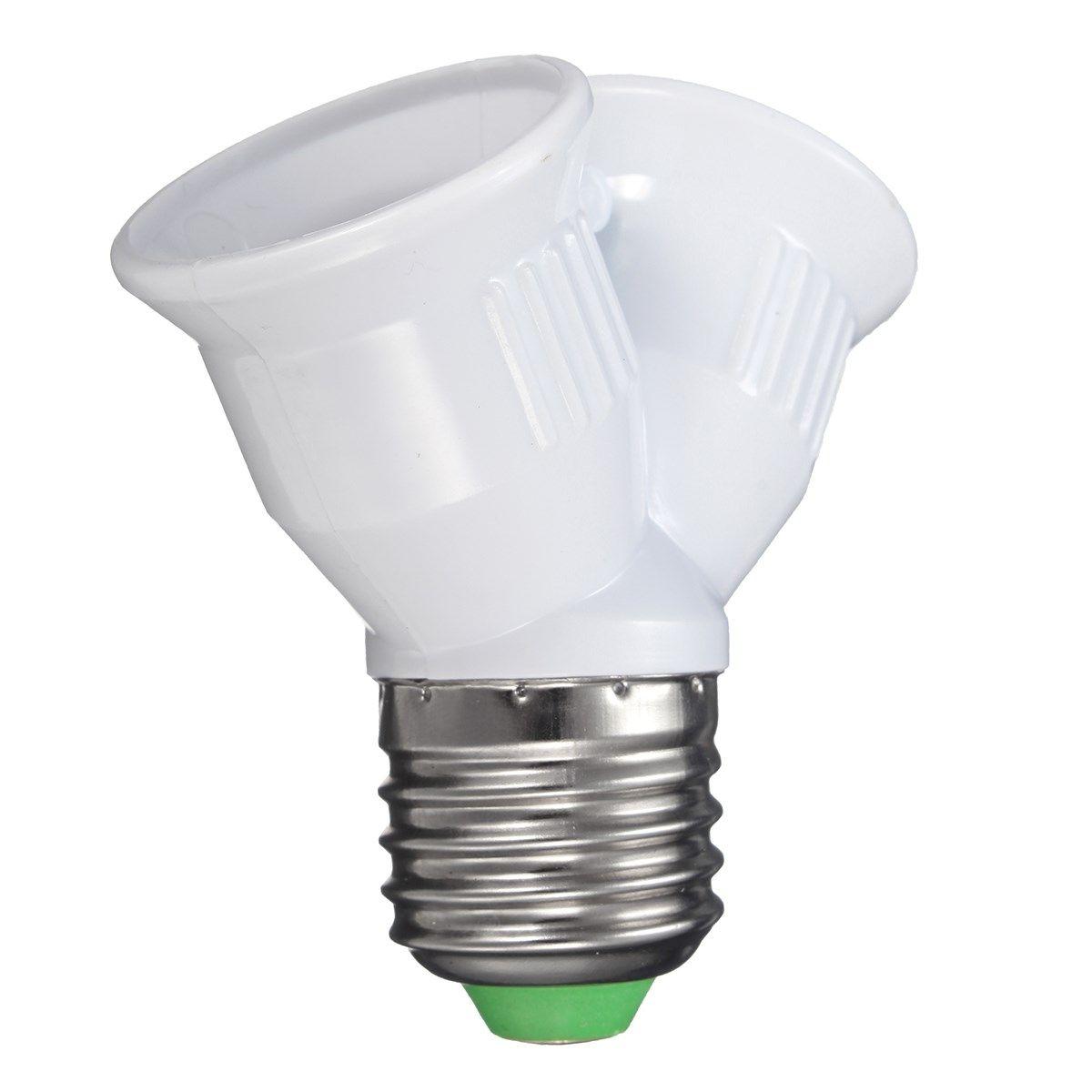 1a E27 To E27 Lamp Base Double Socket Lamp Base Holder Converter Splitter Adapter For Led Light Lamp Bulb 220v Led Light Lamp Lamp Bases Lamp Bulb