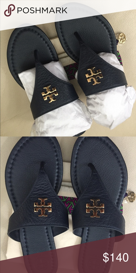 aaa61be21 Laura Flat Navy Blue Tory Burch Sandal with gold emblem. New with box and  dust bag Tory Burch Shoes Sandals