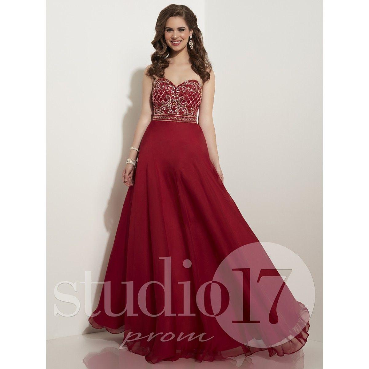 Beautiful chiffon wine gown sweetheart neckline epromstoremo