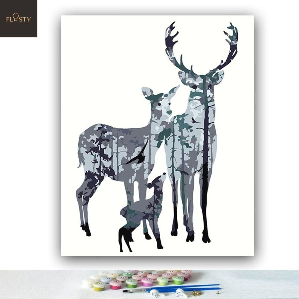 Two Reindeers in a Snowy Forest caribous and Pictures Canvas Wall Art Hanging Paintings Modern Artwork Abstract Picture Prints Home Decoration Gift Unique Designed Framed 4 Panel
