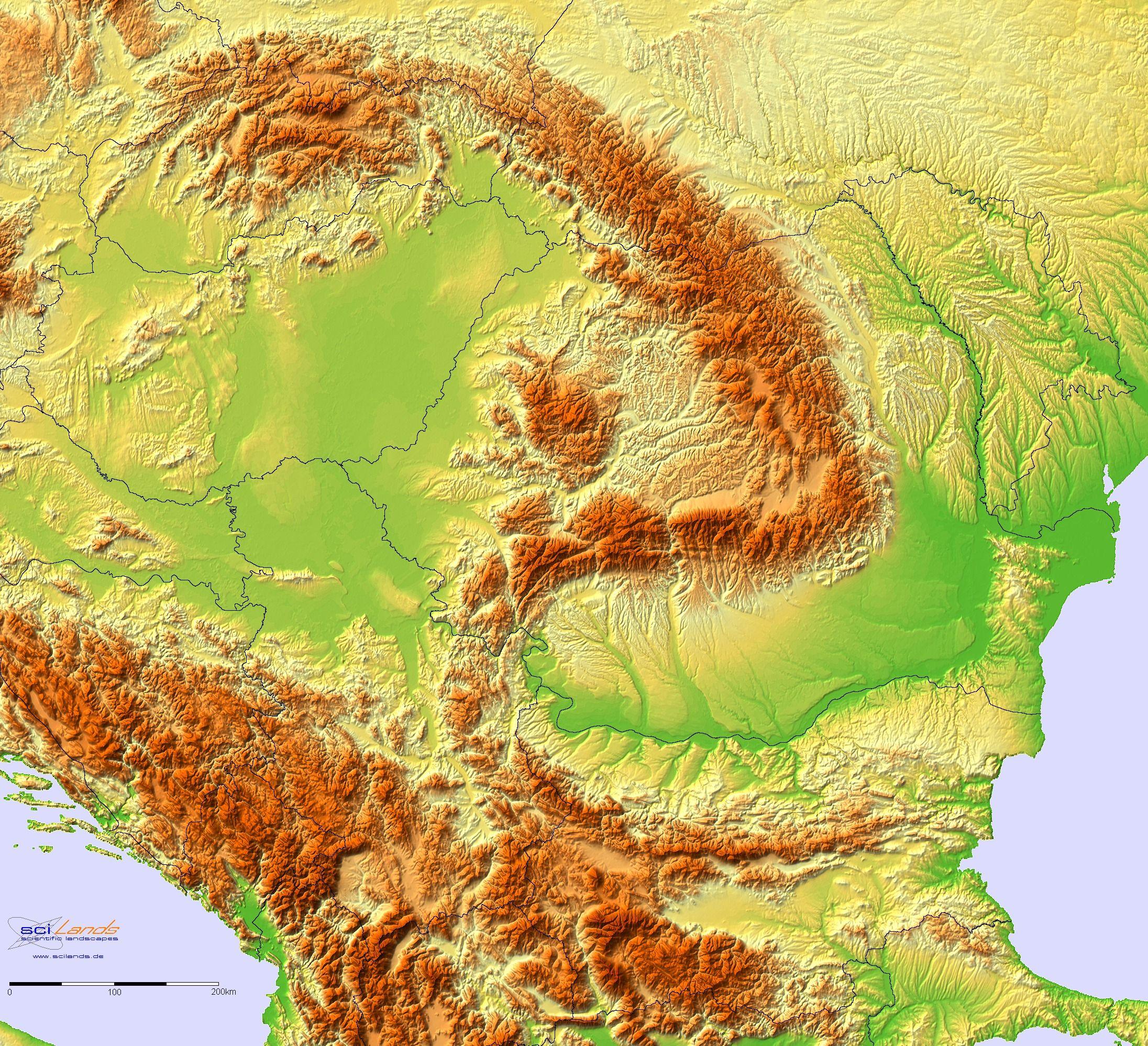 Romania Bulgaria Serbia Terrain Map Relief Map