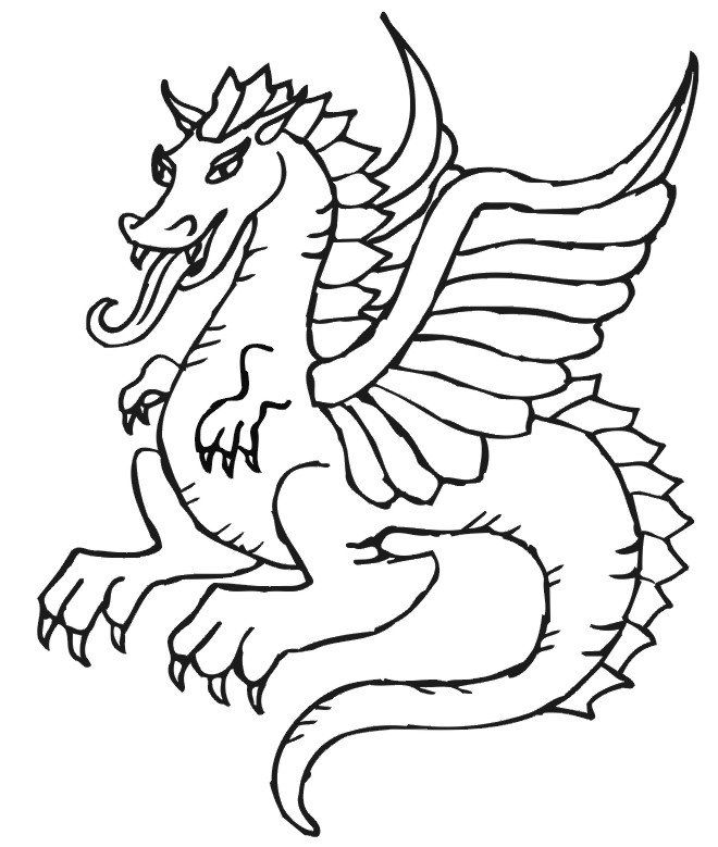 Simple and easy dragon coloring pages free printables for kids