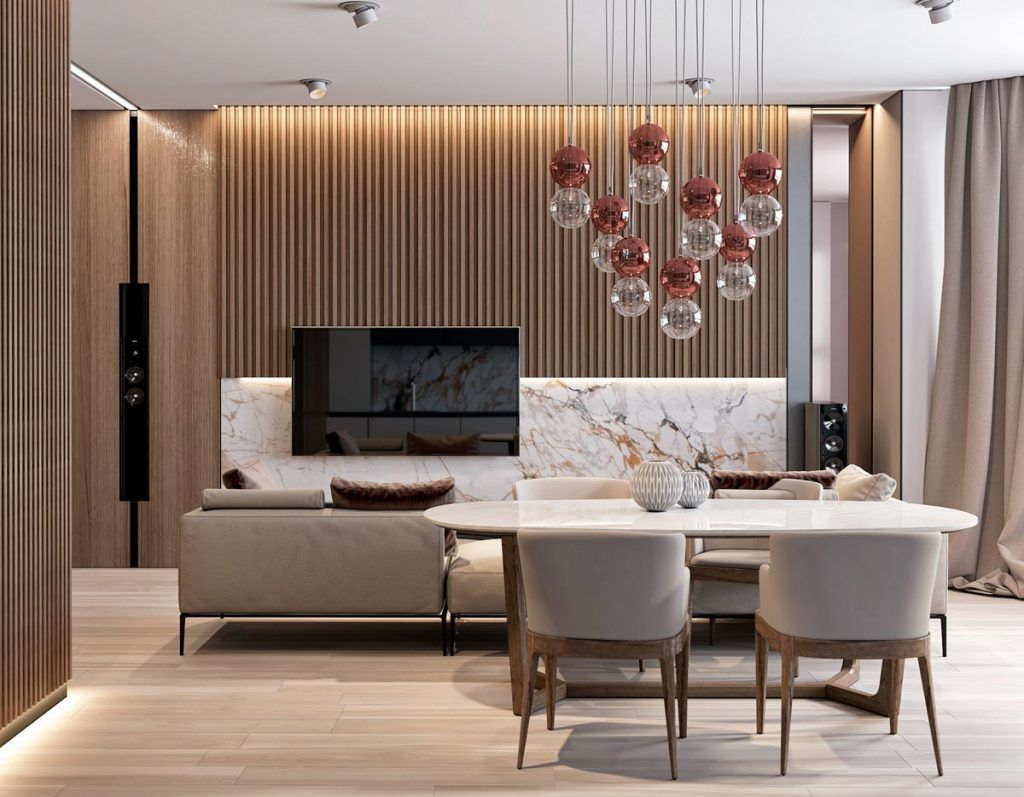 Interior design using marble and wood combinations in 2018 ideas