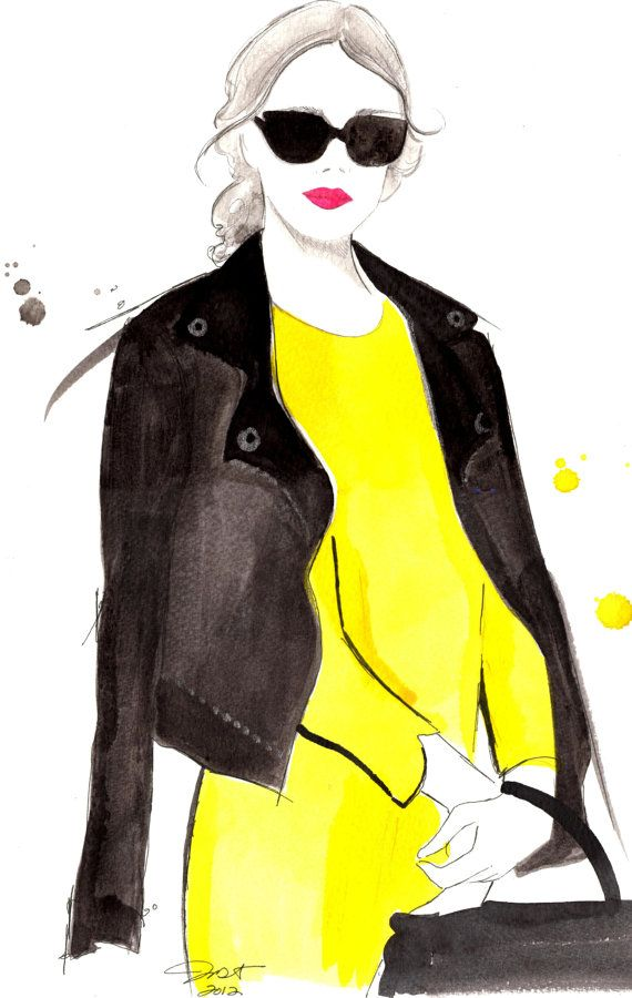 Black Meets Yellow, #watercolor by Jessica Durrant