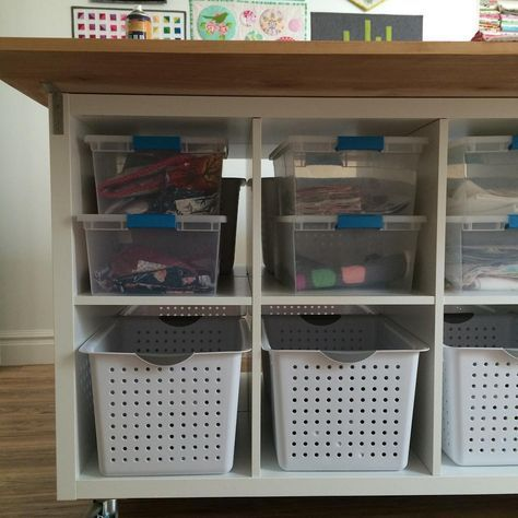 I Found Sterilite Bins That Fit Ikea Kallax Shelves Perfectly Which Is Incredibly Satisfying Craftroom Shelves Kallax Ikea Ikea Kallax Shelf