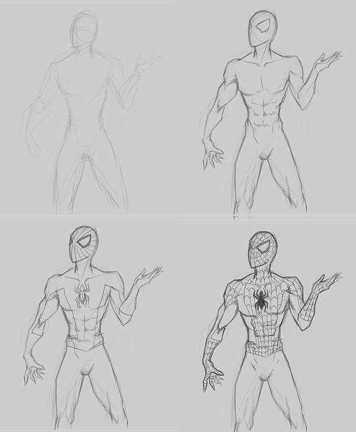 Draw Spiderman step by step tutorial