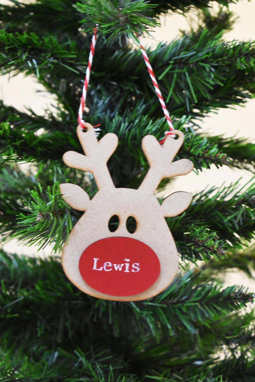 Rustic Personalised Christmas Tree Ornament Custom Name Reindeer Holiday Decor Personalized Decoration Wooden Baubles Xmas Stag Bauble Personalized Christmas Tree Ornament Reindeer Holiday Decor Personalized Christmas