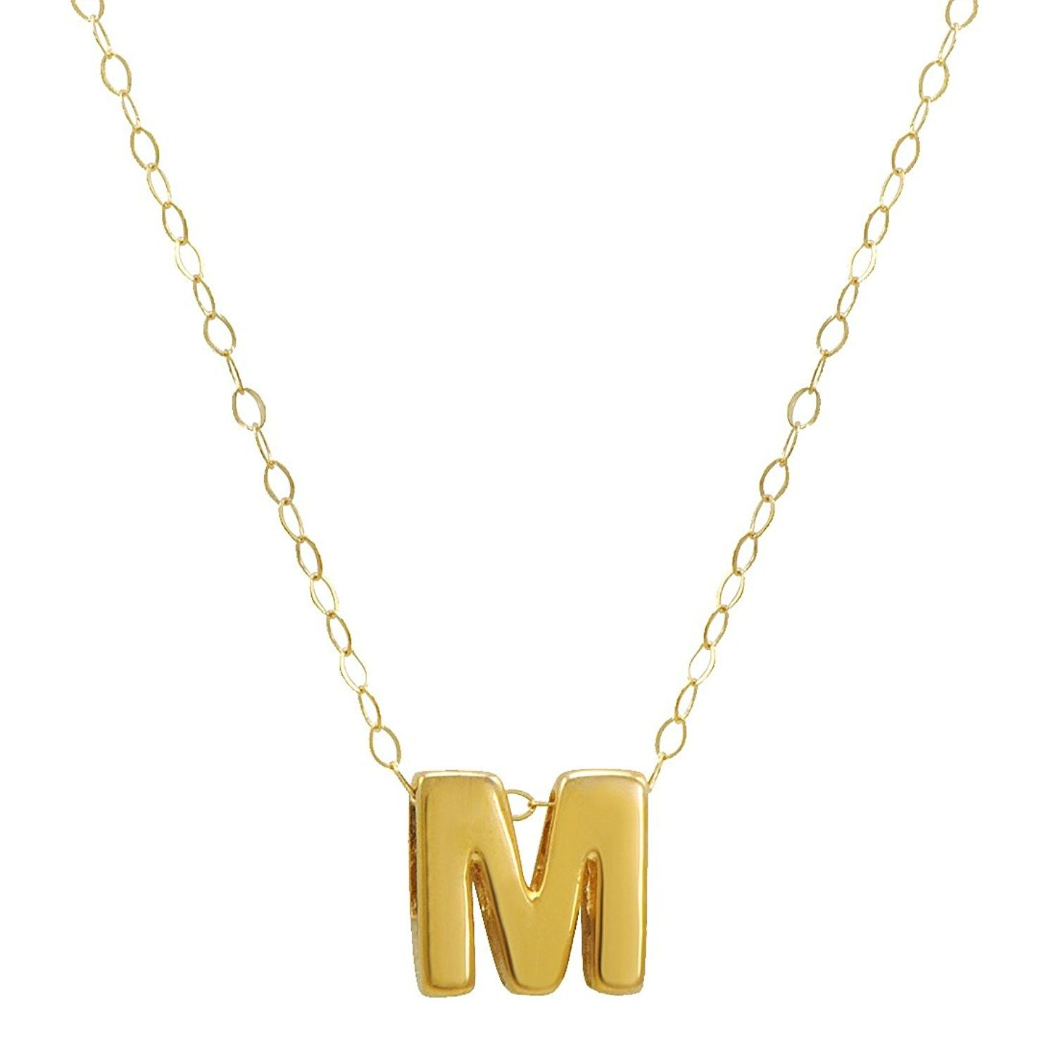 Amanda Rose 10k Yellow Gold Petite Initial M Pendant Necklace On A 17 In Chain Cv12oe273kr Initial Pendant Necklace 10k Gold Chain Fine Gold Necklace