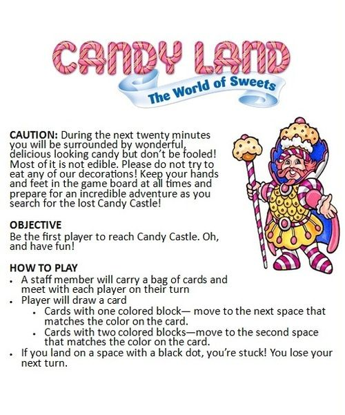 Lifesize Candy Land Rule Sheet Lifesize Candyland Program