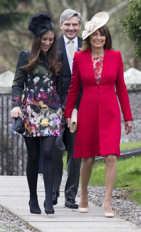 R Carole Middleton Beams As She Arrives At The Lavish Ceremony Dressed In A Stylish Red Jacket