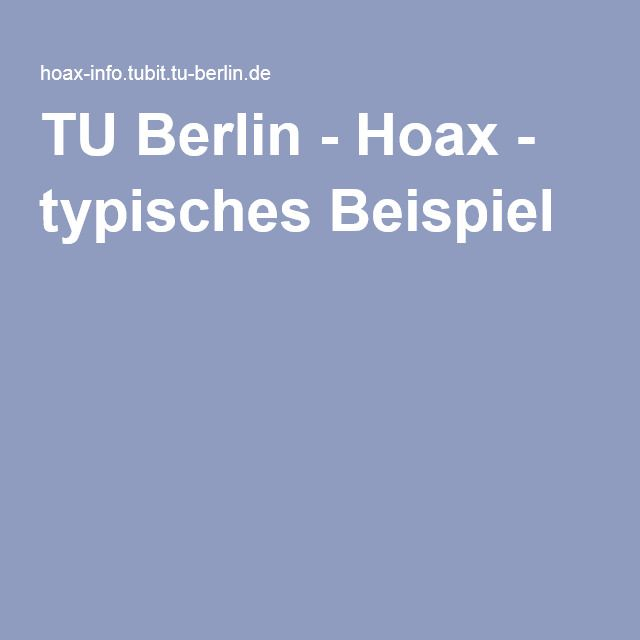 Tu Berlin Hoax