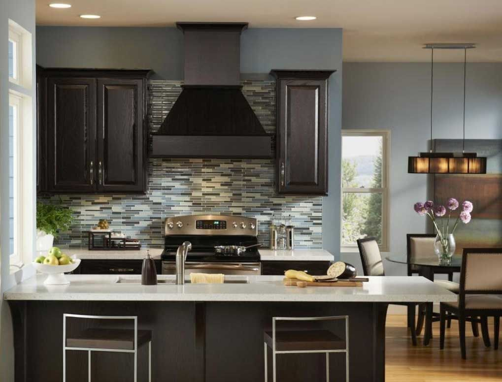 Genial Popular Paint Colors For Kitchens With Blue Wall Paint Color And Dark Brown  Cabinet Designed With White Top Plus Natural Hardwood Flooring