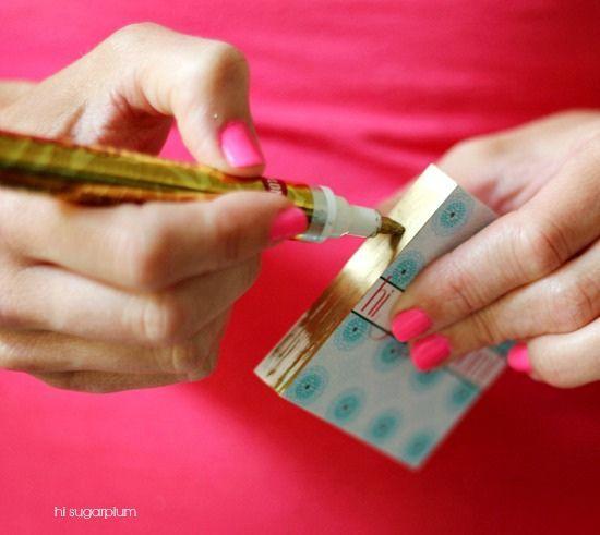 Cartes com bordas coloridas como fazer cartes de visita hi sugarplum diy gilded business cards reheart Images