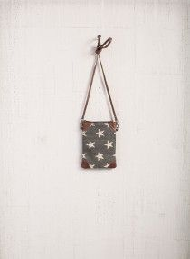 Mona B Freedom Crossbody - Enhanced with beige stars on top of gray up-cycled canvas with genuine leather accents on all four corners, the Freedom mini crossbody purse is bound to become a collection favorite.