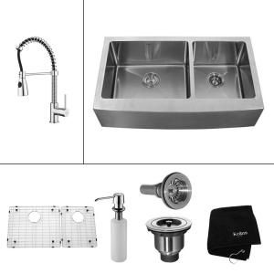 Kraus All In One Farmhouse A Front Stainless Steel 33 Double Bowl Kitchen Sink With Chrome Faucet