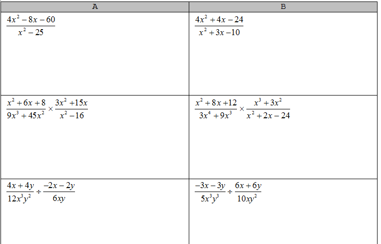 Simplifying Rational Expressions Row Game | Math Teacher