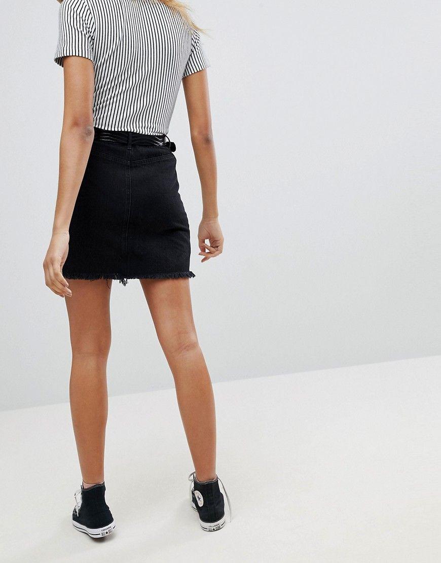 52ba880540 Missguided Raw Hem Denim Mini Skirt | Denim skirt outfits | Mini ...