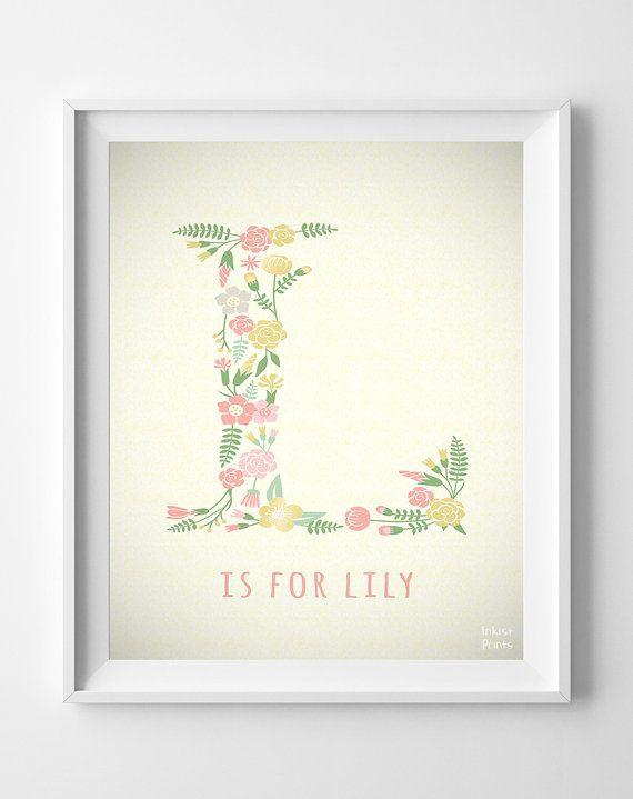 Initials Custom Initial Print Alphabet Print Letter Print Etsy Baby Print Art Flower Prints Art Alphabet Wall Art Nursery