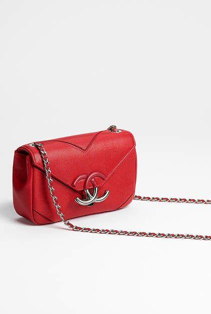 e6be6f09a0341b Flap bag, grained calfskin & silver-tone metal-red - CHANEL | Love ...