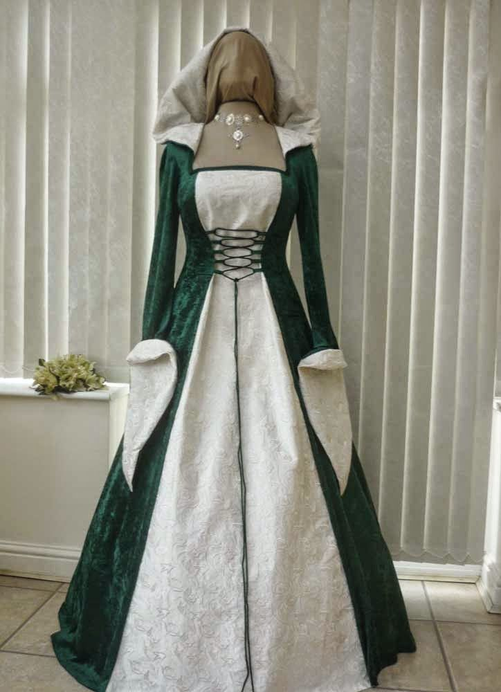 Celtic Wedding Dresses Design Dress Traditional Green Meval Elvish Overlay