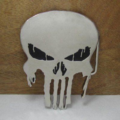Hollow Out Skull Shape Silver Alloy Belt Buckle For Men