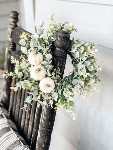 Photo of Mini farmhouse white pumpkin wreath