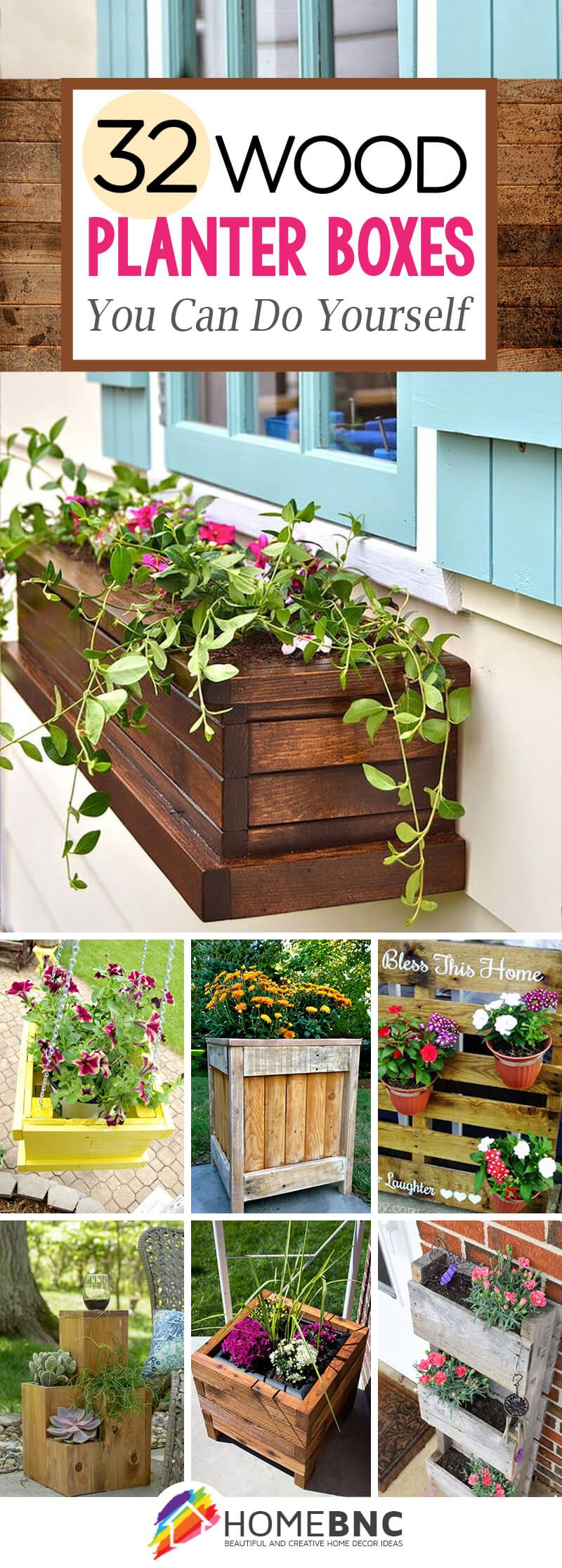 diy pallet and wood planter box decorations [ 800 x 2233 Pixel ]
