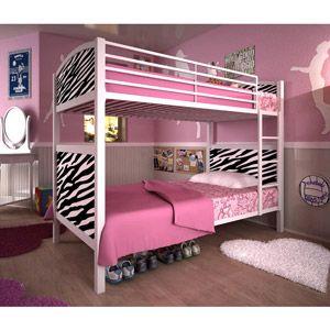 White Metal Twin Bunk Bed Zebra Pattern Girls Rooms Pinterest