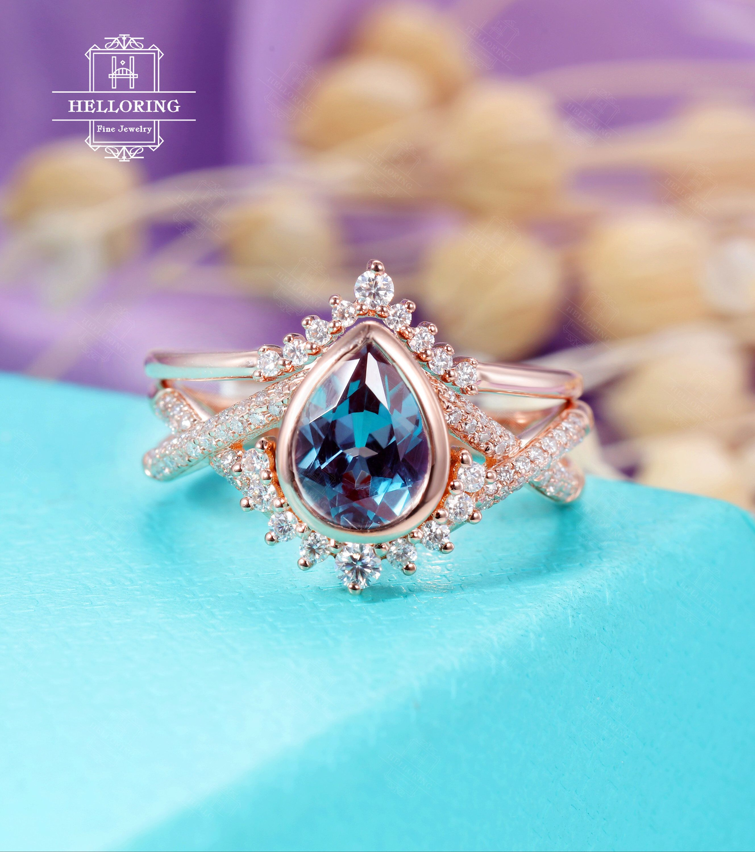 Alexandrite engagement ring set rose gold women vintage