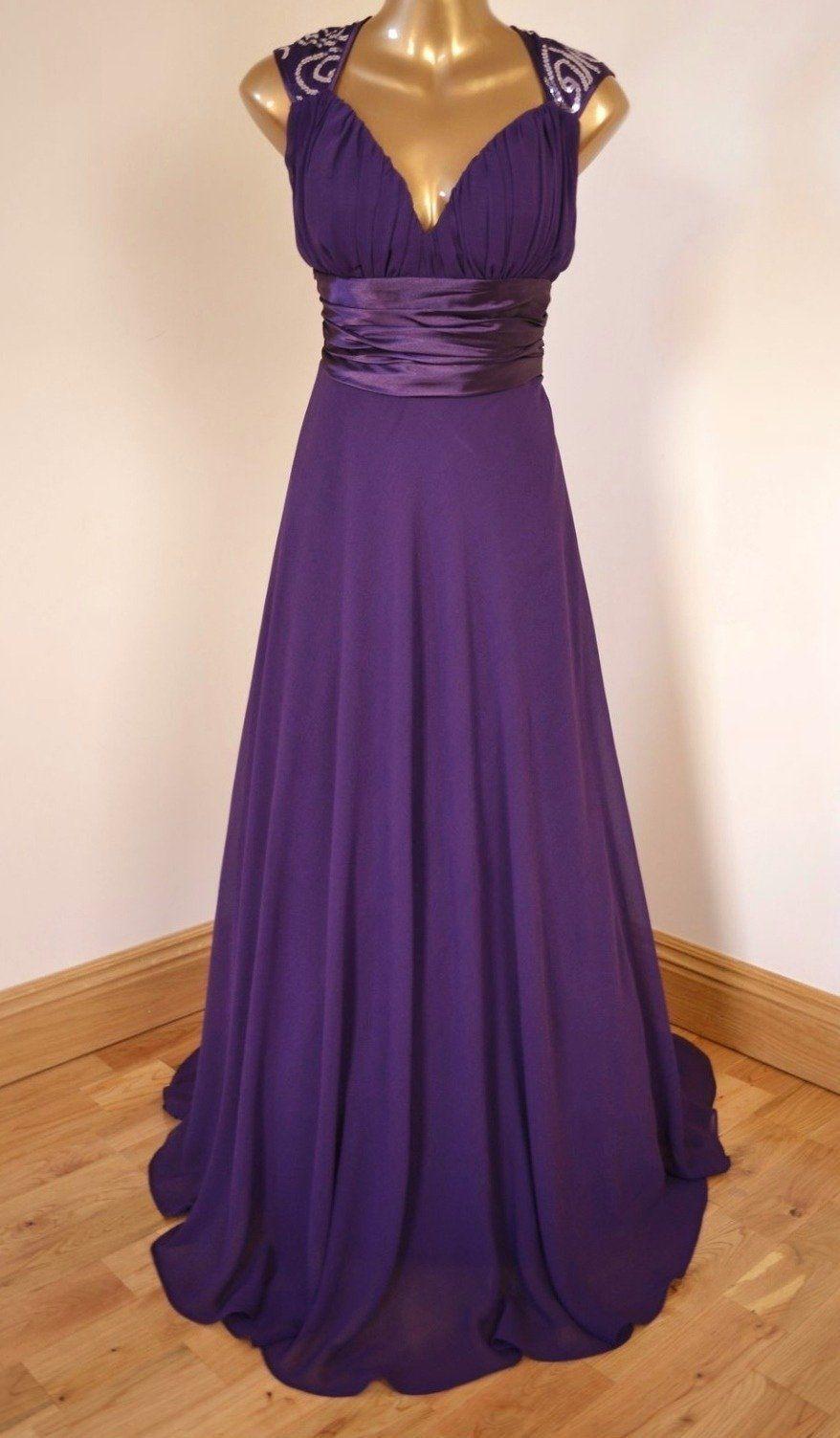 BNWT APHRODITE Purple Chiffon Sequin Evening Ballgown Dress Size UK ...