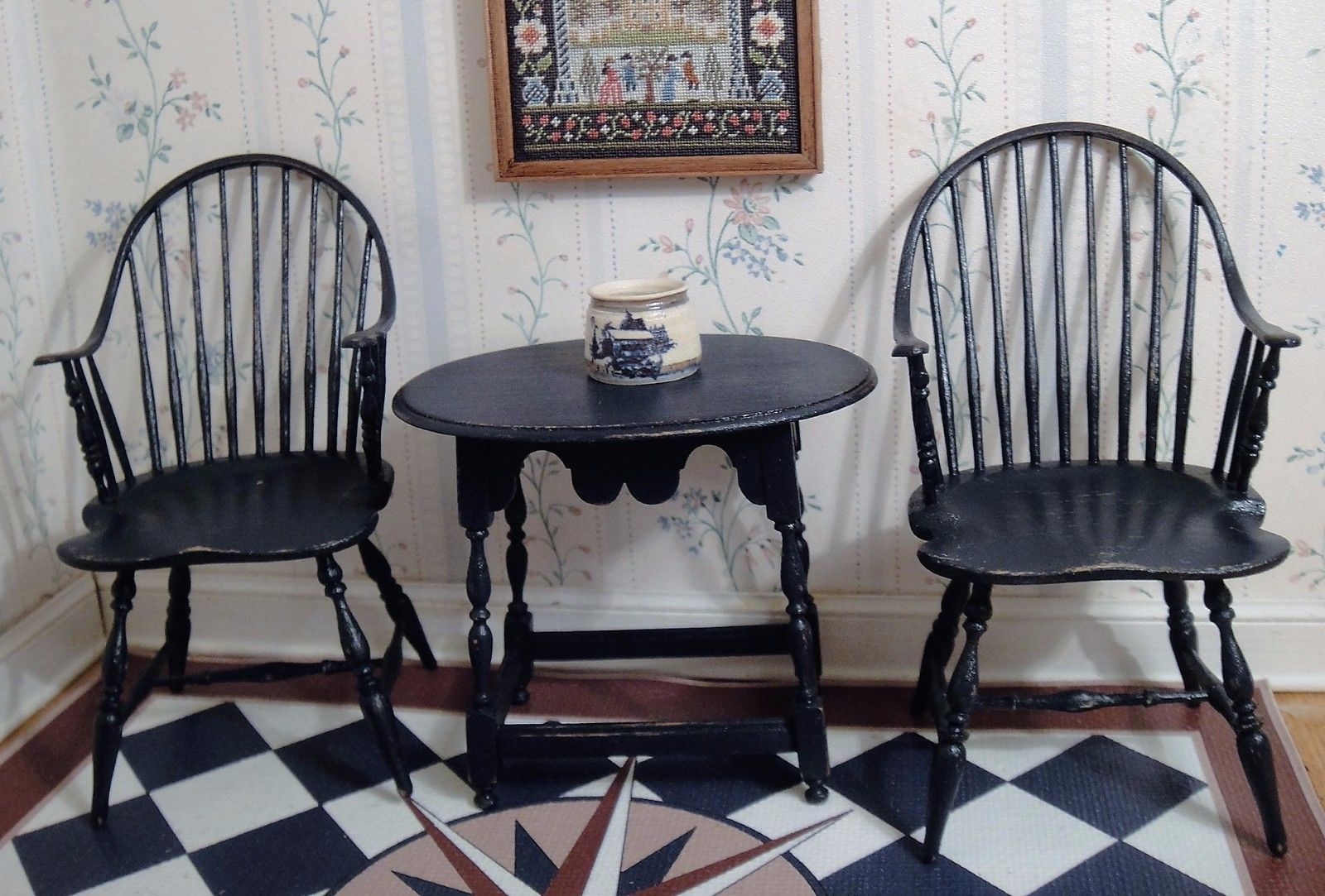 Mark Murphy, IGMA Fellow   Pair Of Colonial Blue Windsor Chairs U0026 Tavern  Table