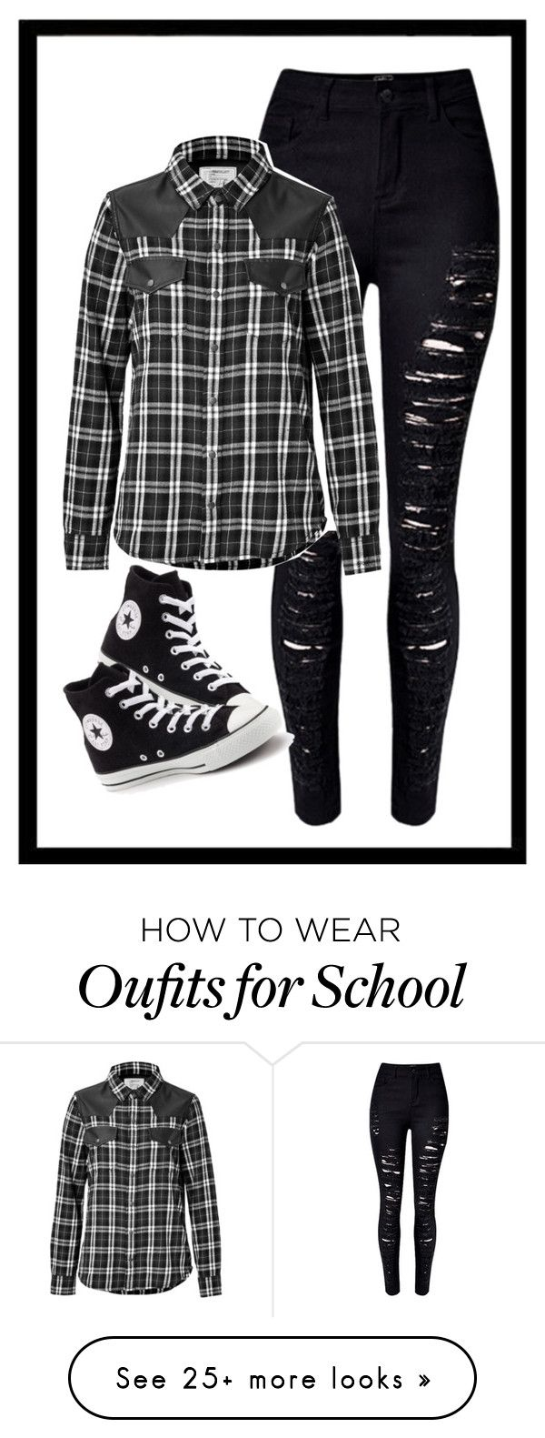 """""""School look"""" by kussxesraa on Polyvore featuring WithChic, Current/Elliott and Converse"""
