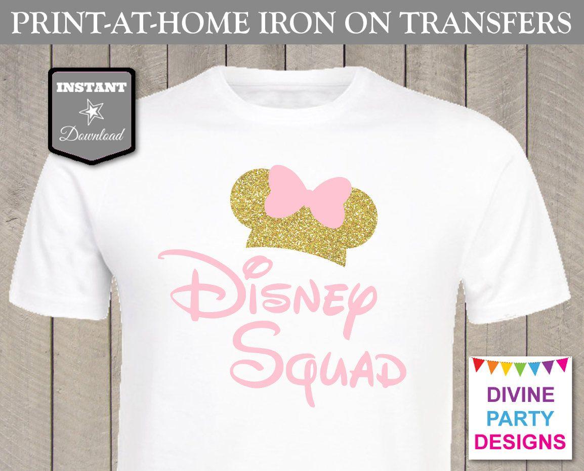 b6b9517209 INSTANT DOWNLOAD Print at Home Pink Gold Glitter Disney Squad ...