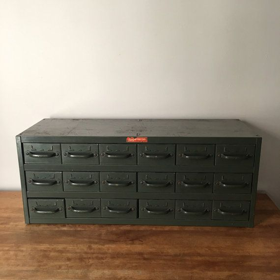Vintage industrial 18 drawer steel Equipto cabinet in original ...