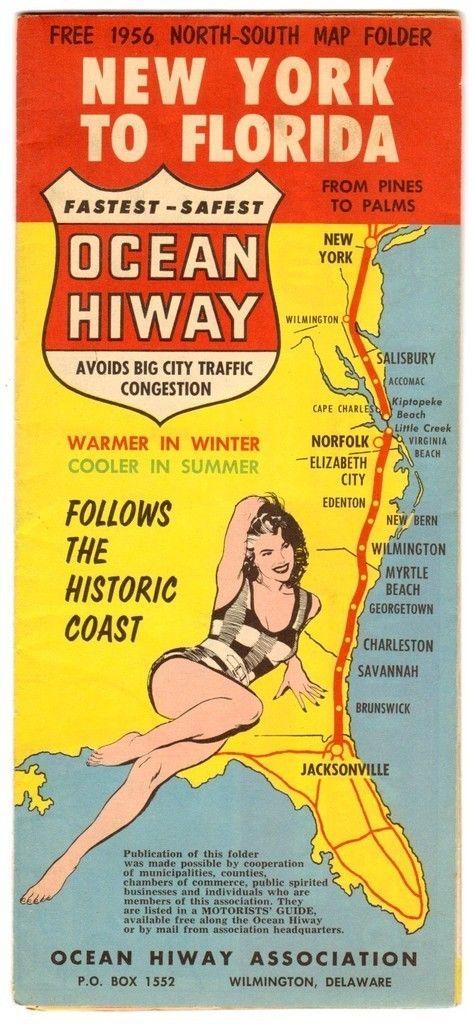 Original 1956 U S Road Map New York To Florida Ocean Highway