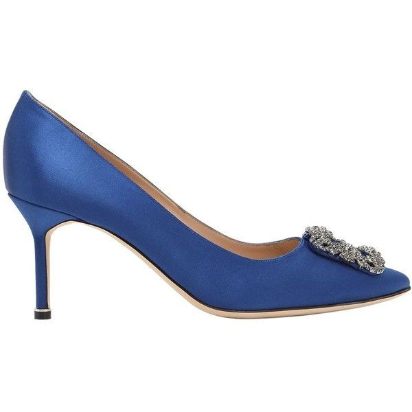 Manolo Blahnik Women 70mm Hangisi Swarovski Silk Satin Pumps (1,525 CAD) ❤  liked on Polyvore featuring shoes, pumps, royal blue, royal blue shoes, ...